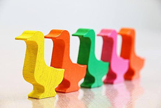 разноцветные деревянные уточки  стоят в ряд