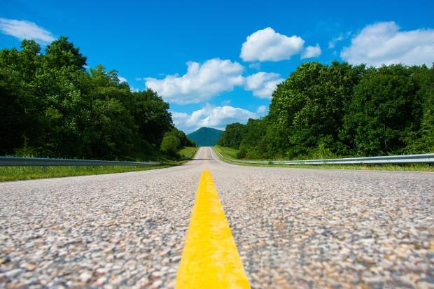 дорога с желтой полосой, уходящая вдаль, зеленые деревья