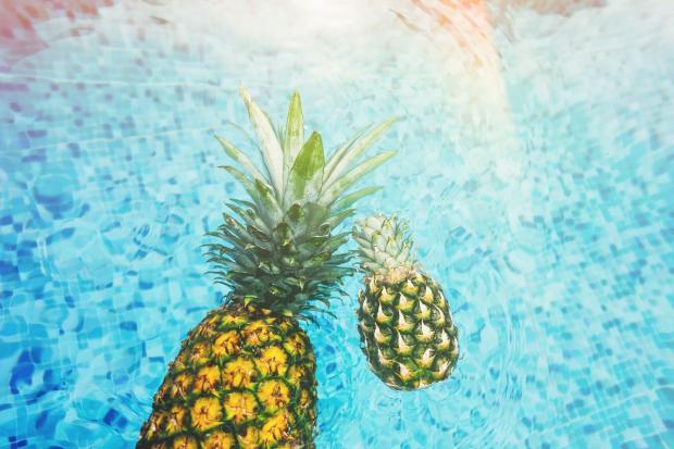 два ананаса в море