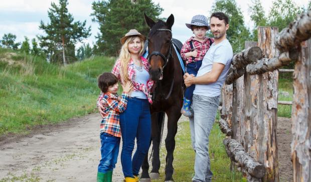 семья стоит около лошади