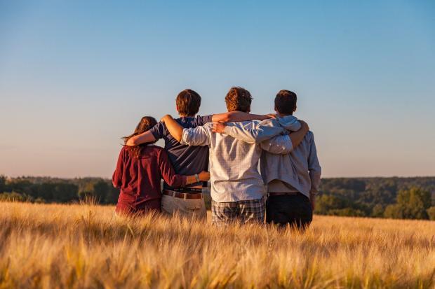 компания друзей стоит обнявшись в поле
