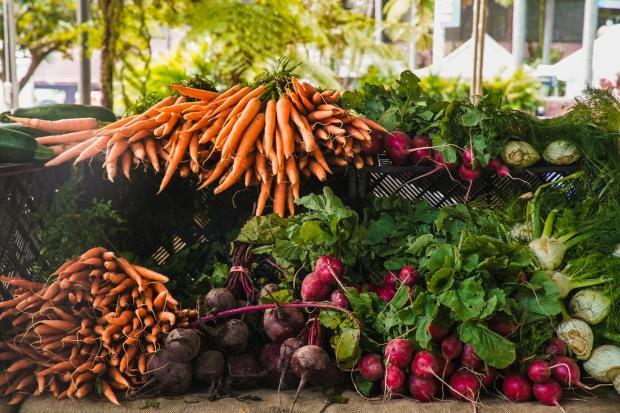 лежит урожай осенних овощей