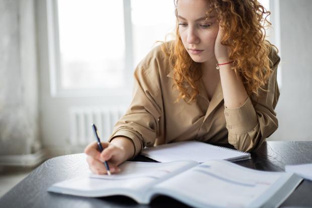 рыжая кудрявая девушка что-то изучает и пишет