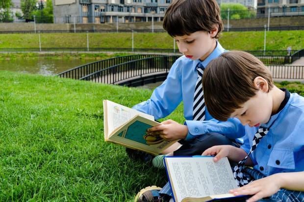 два мальчика в синих рубашках читают книги