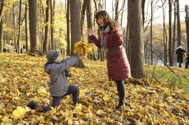 мальчик дарит маме букет осенних листьев