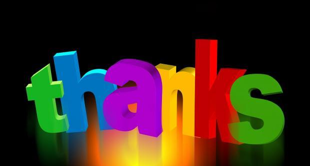 слово Благодарю из разноцветных букв
