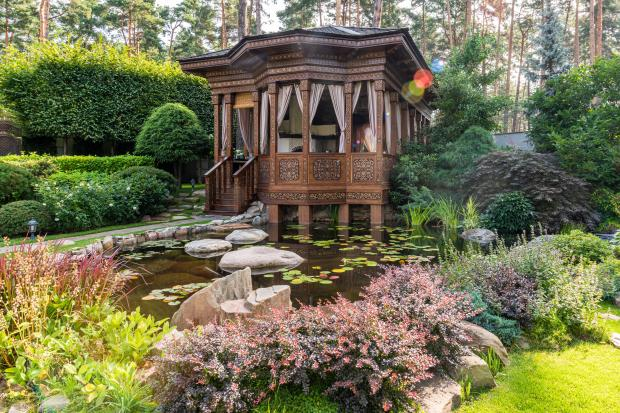 деревянный домик на пруду с цветами, лес