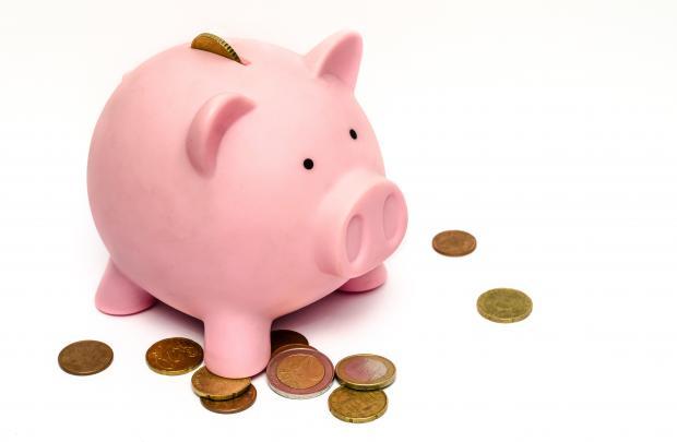 розовая свинья-копилка, монеты
