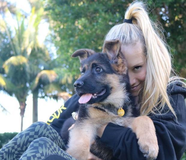 Анна Курникова с собакой