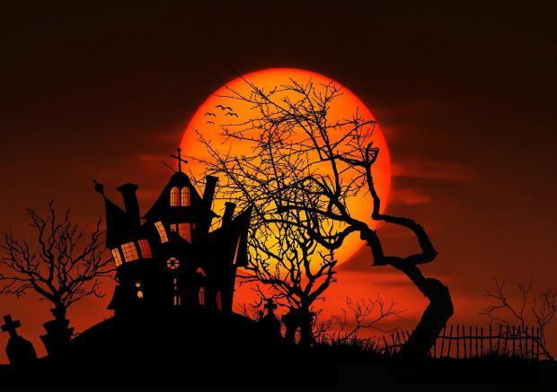 полная яркая Луна встает над хижиной и силуэтом дерева