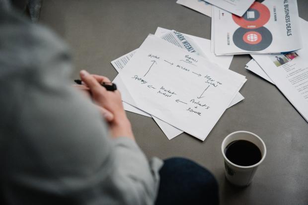 листки бумаги с надписями и чашка кофе на столе
