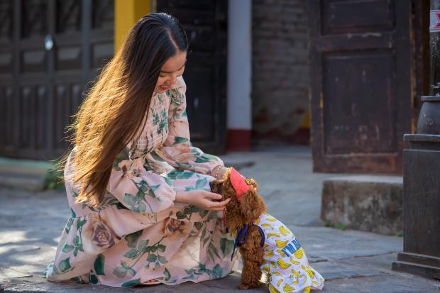 длинноволосая девушка в длинном цветастом платье гладит собаку
