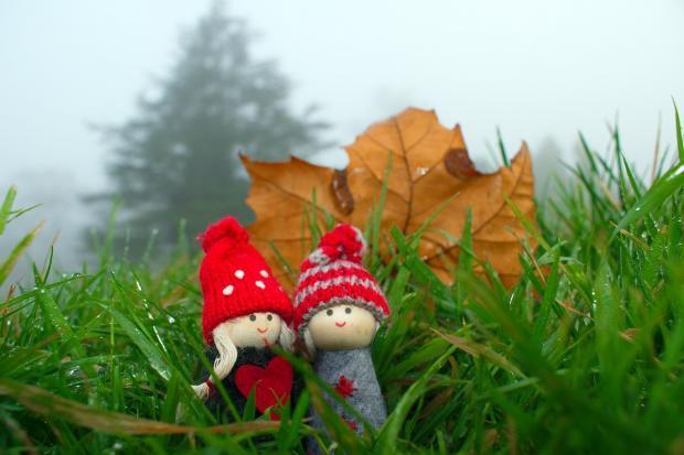 две игрушечных фигурки гномиков в траве под кленовым листом