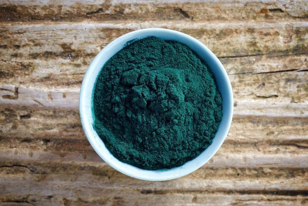 порошок сине-зеленых водорослей афа в мисочке