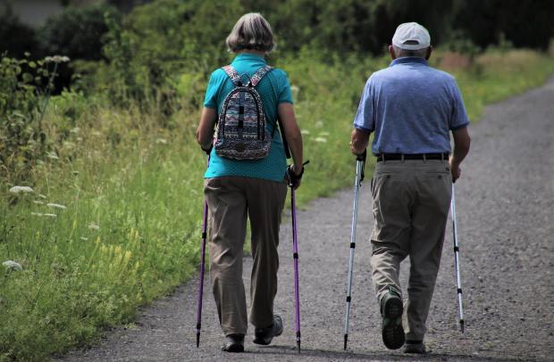 пожилые люди занимаются скандинавской ходьбой