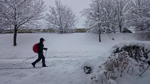 парень идет по снегу с палками